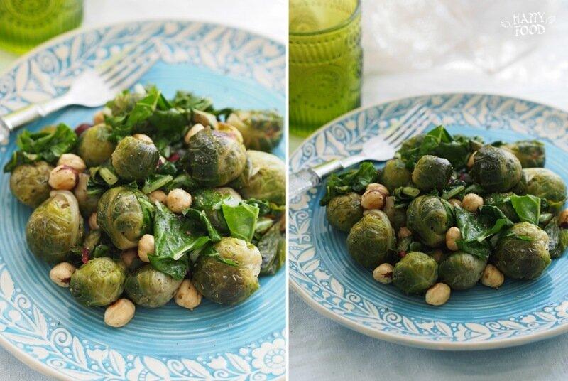 Теплый салат с брюссельской капустой и фундуком (готовлю с посудой iCookTM)
