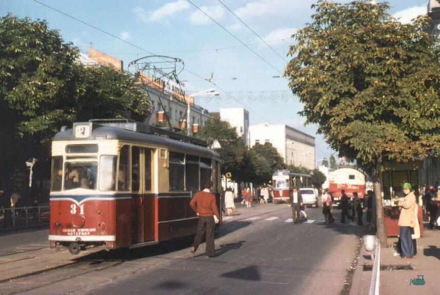 Трамвайная остановка в центре (1978 год)