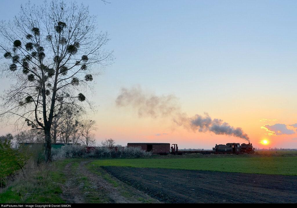 The 750 mm narrow gauge steam locomotive Px48 1756 (0-8-0) hauling a Farrail steam charter is on its way home to Sroda. PKP - Polish State Railways, Between Zaniemysl and Sroda , Poland, April 25, 2012.
