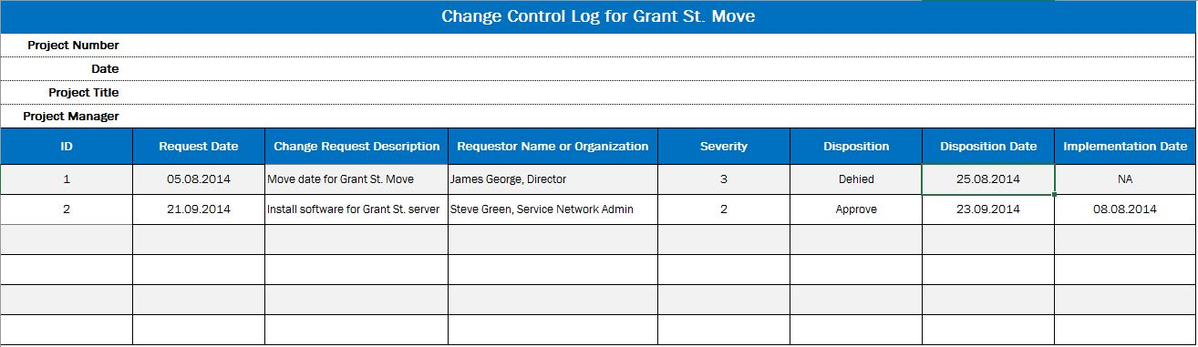 Рис. 1. Новые строки в журнале контроля изменений для проекта Grant St. Move