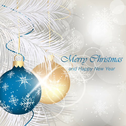 Merry Christmas and Happy New Year greeting card with baubles, ribbons, stars, shiny effect, snowflakes and needles.