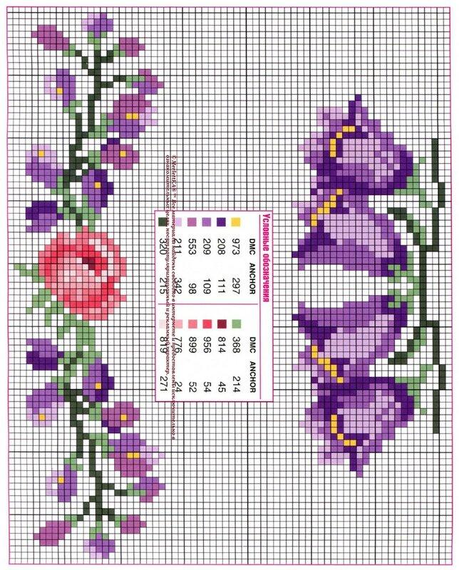 Вышивка цветы схема крестиком 88
