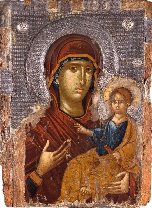 Богоматерь Одигитрия. Икона XIV века. Национальный музей, Белград.