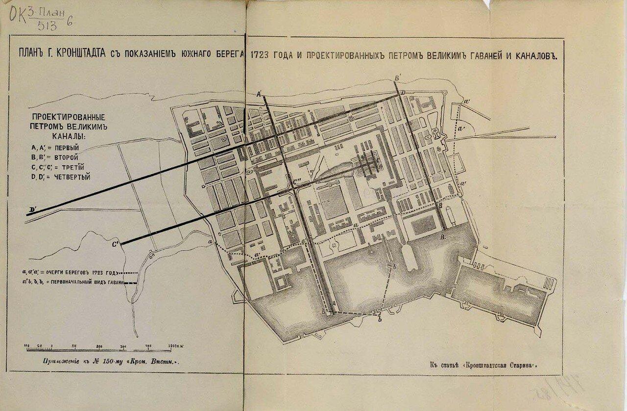 План г. Кронштадта с показанием южного берега 1723 года и проектированных Петром Великим гаваней и каналов