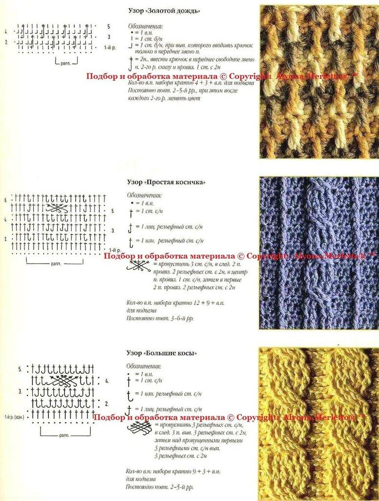 Узоры вязания на шарфах