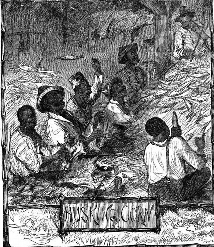 Рабы занимаются вылущиванием зерен из кукурузных початков (Юг США, 1861 год)
