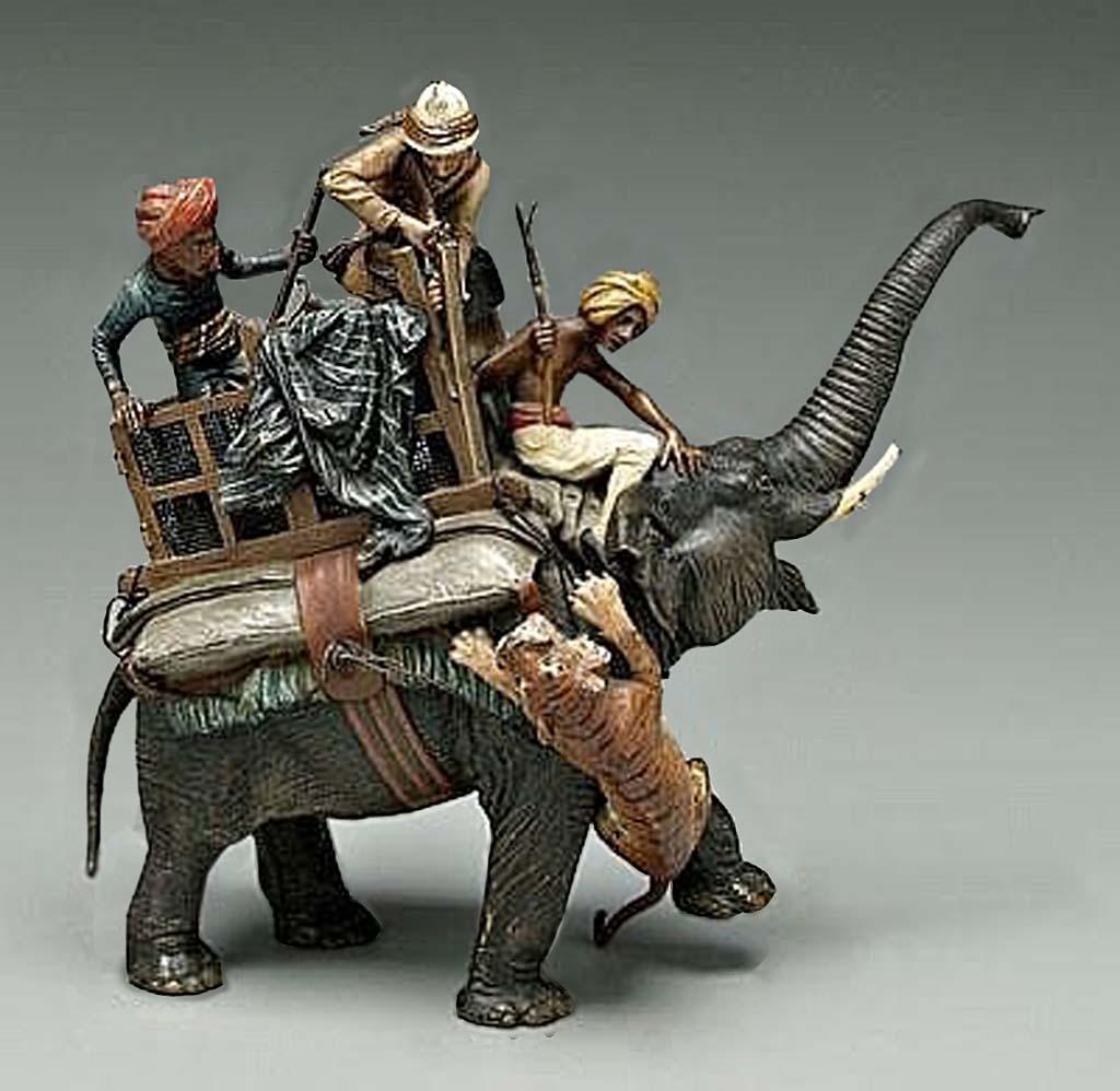 Индийская охота на тигра. Бронзовая группа. автор  Франц Вальтер Бергманн (1898-1970)