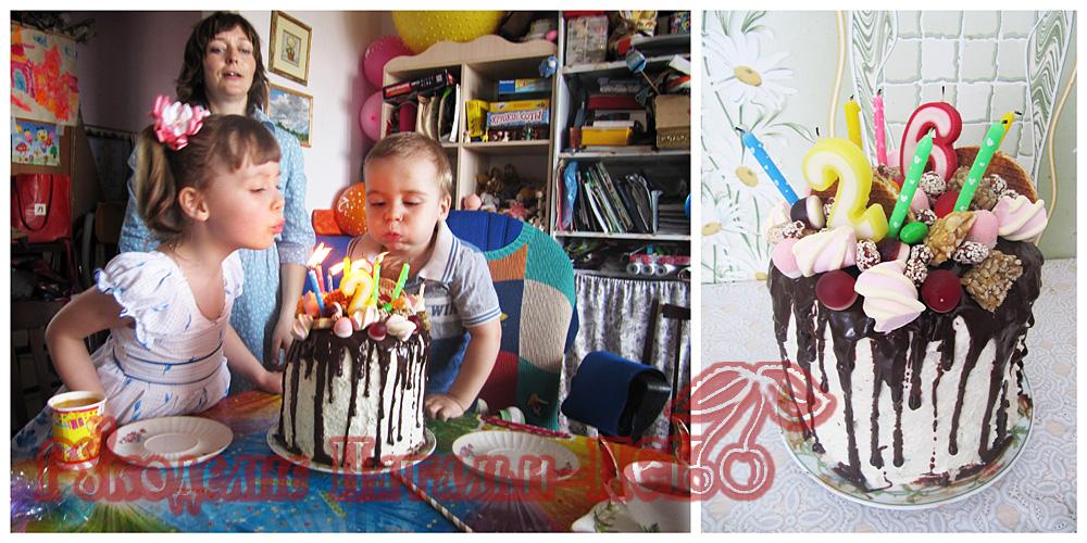 радужный торт детский
