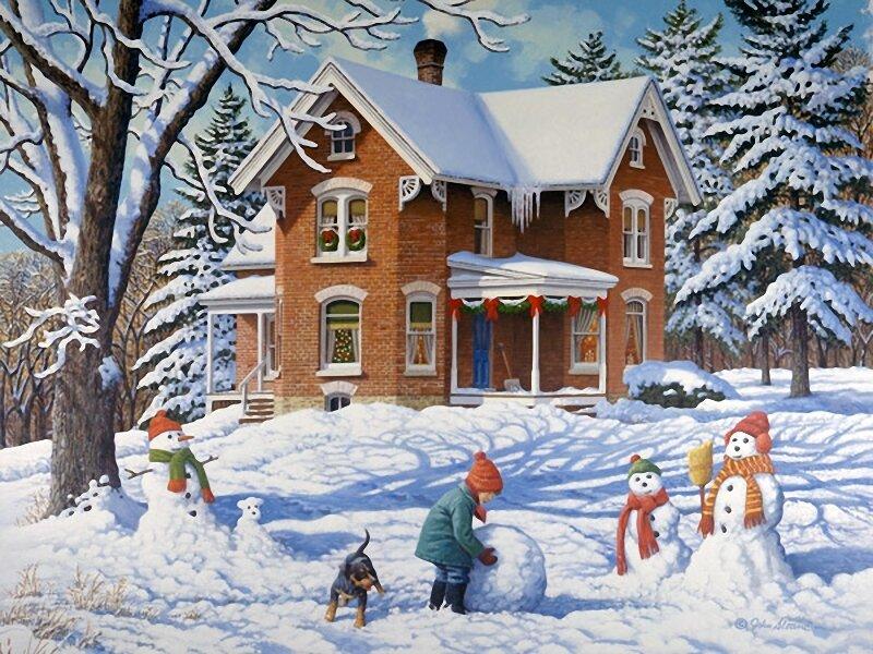 Открытки, картинки зима для детского сада природа