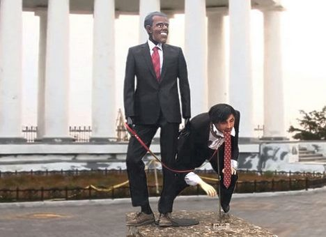 ВОдессе установили издевательский монумент Обаме иСаакашвили