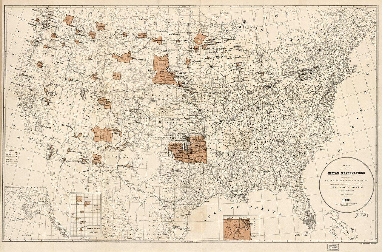 1888. Карта, показывающая индейские резервации