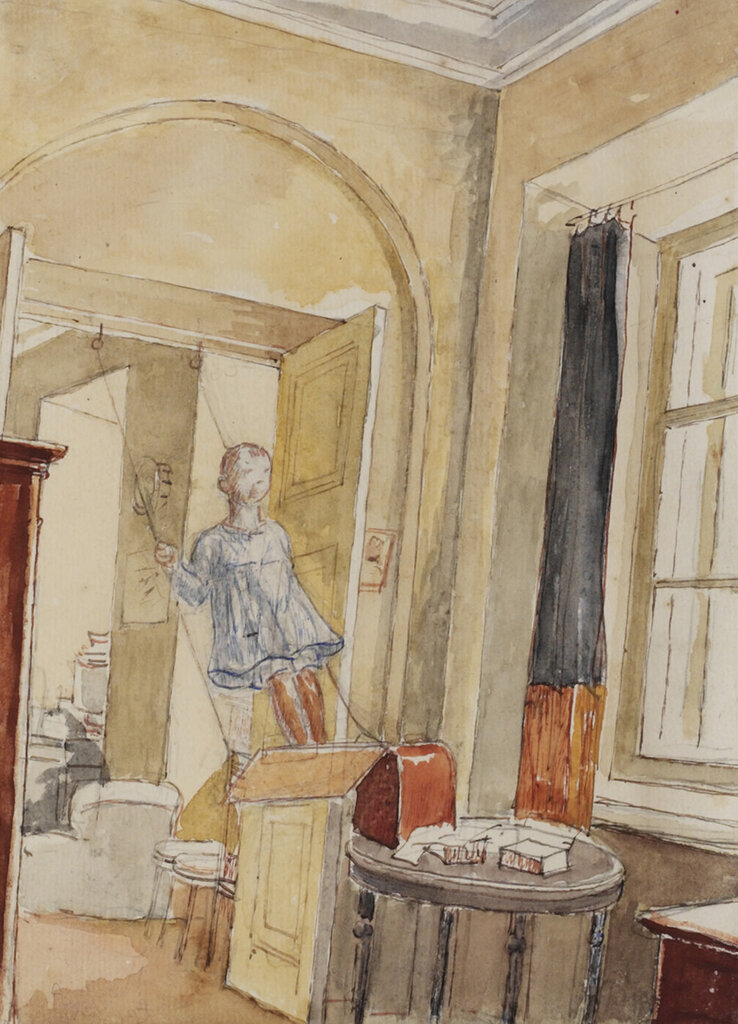 Kuzma Petrov-Vodkin, The Artist's Daughter Elena on a Swing, 1928.jpg