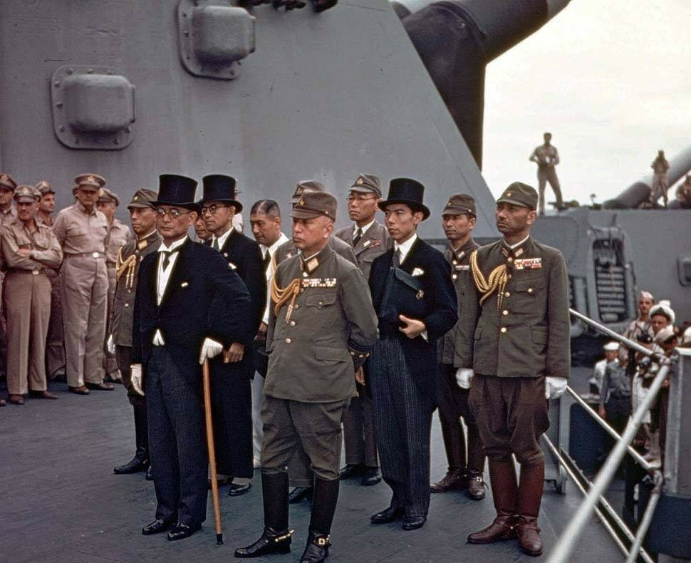 Japanese delegation arriving aboard USS Missouri, Tokyo Bay, for the surrender ceremony.jpg