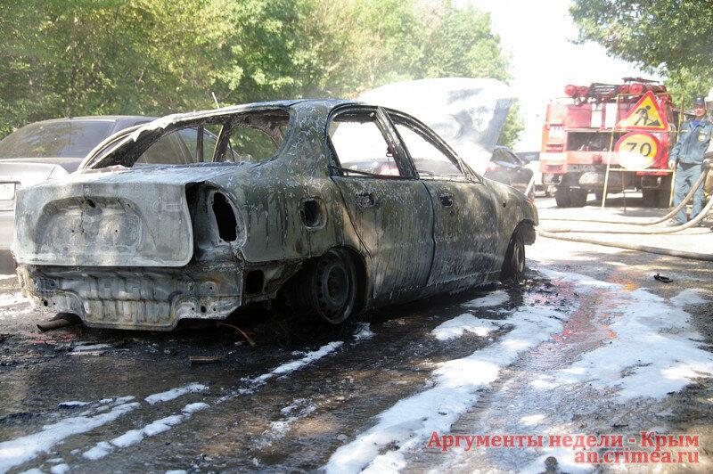 В Крыму сгорел донецкий автомобиль. КрымФАН.