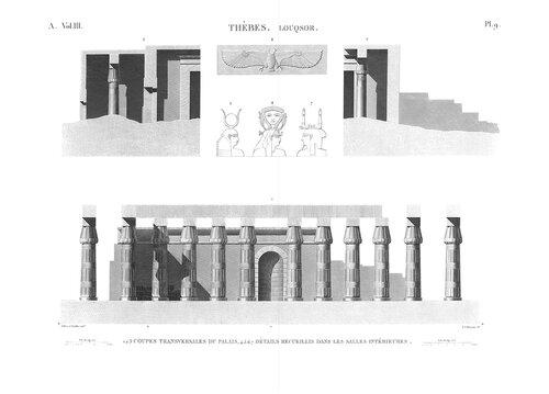 Храм Амона в Луксоре, верхний Нил, поперечные разрезы