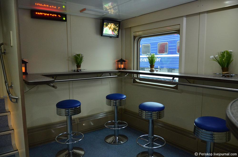 Московско-питерская 2-этажка. Купе проводника и вагон-ресторан