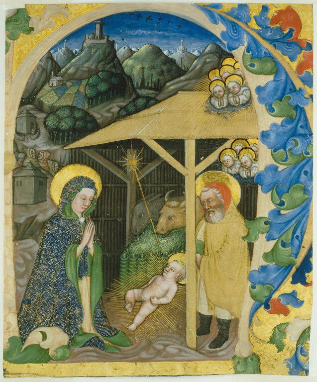Zanino di Pietro (Giovanni di Francia) Italian, Nativity in an Initial H, 1430/40