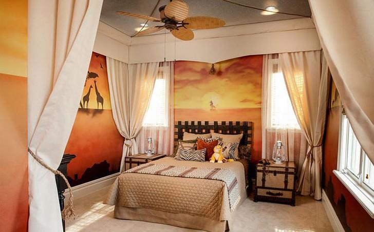 14. Стильная спальня для любителя дикой природы