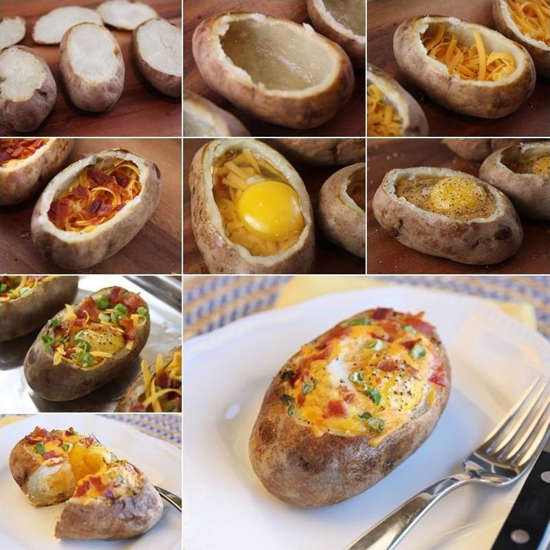 7. Запеченный картофель с яйцом, сыром и овощами.