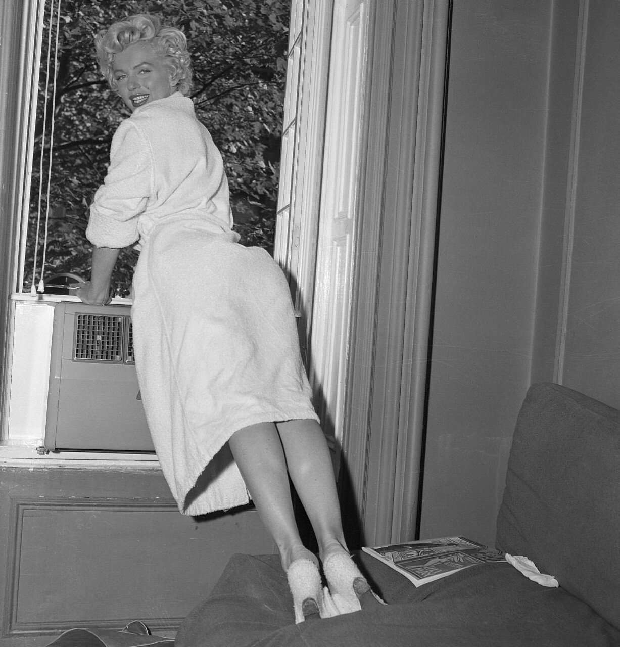 Mariyln Monroe Leaning on Window Sill