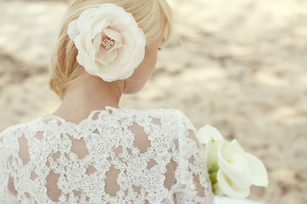 sweet romantic bride in white lace