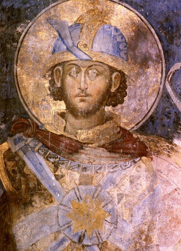 Святой Великомученик Меркурий Кесарийский. Фреска церкви Святой Троицы в монастыре Манасия (Ресава), Сербия. До 1418 года.