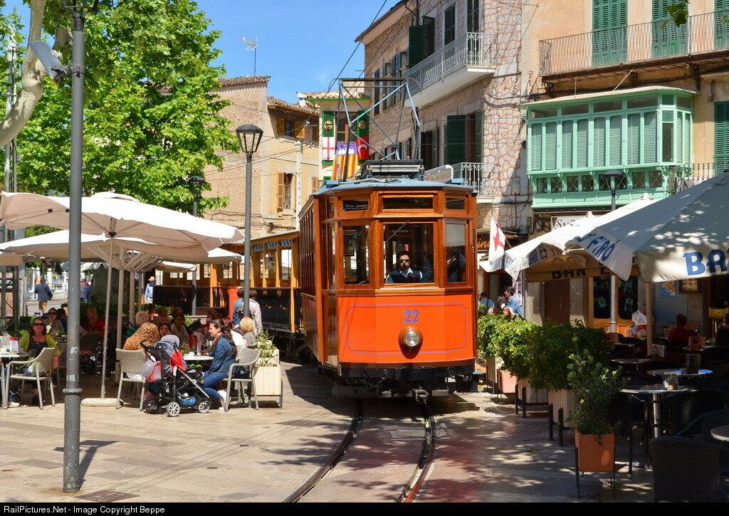 Ferrocarril de Soller Streetcar #22, Soller, Balearic Islands, Spain. May 06, 2014