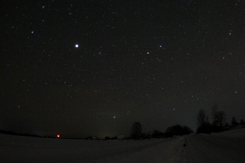 Звёздное небо и яркий Юпитер через фишай-объектив - Астрономический выезд в Жданухино