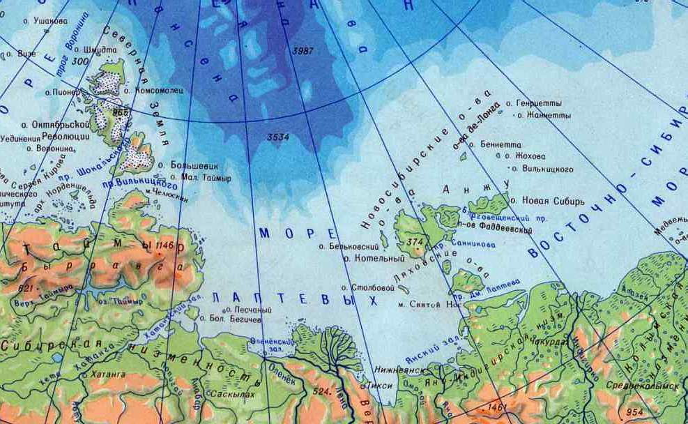 Где находится лаптевых море
