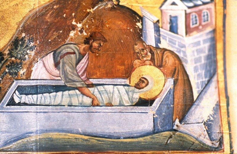 Мученичество и погребение Святого Пророка Михея, сына Иемвлая. Миниатюра Императорского минология (месяцеслова). Византия, XI век. Фрагмент.