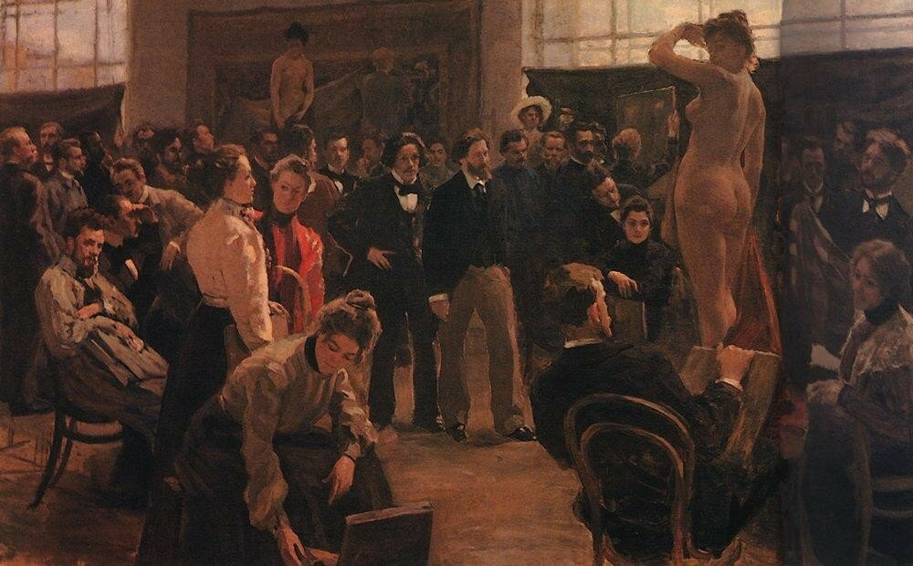 Постановка модели в мастерской И.Е.Репина в Академии художеств. 1899.jpg