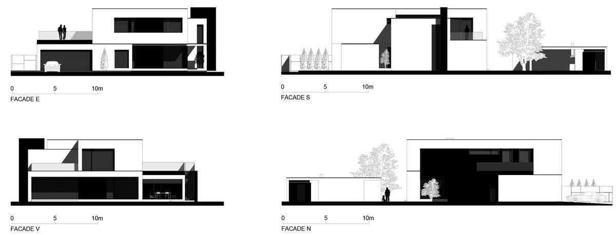 Parasite Studio, частный дом в Румынии, обзоры частных домов, элитная недвижимость в Румынии, черно-белый фасад дома примеры, дома в Румынии купить