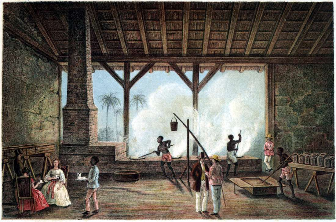 Рабы занимаются переработкой сахарного тростника в сахар (Куба, 1850 год)