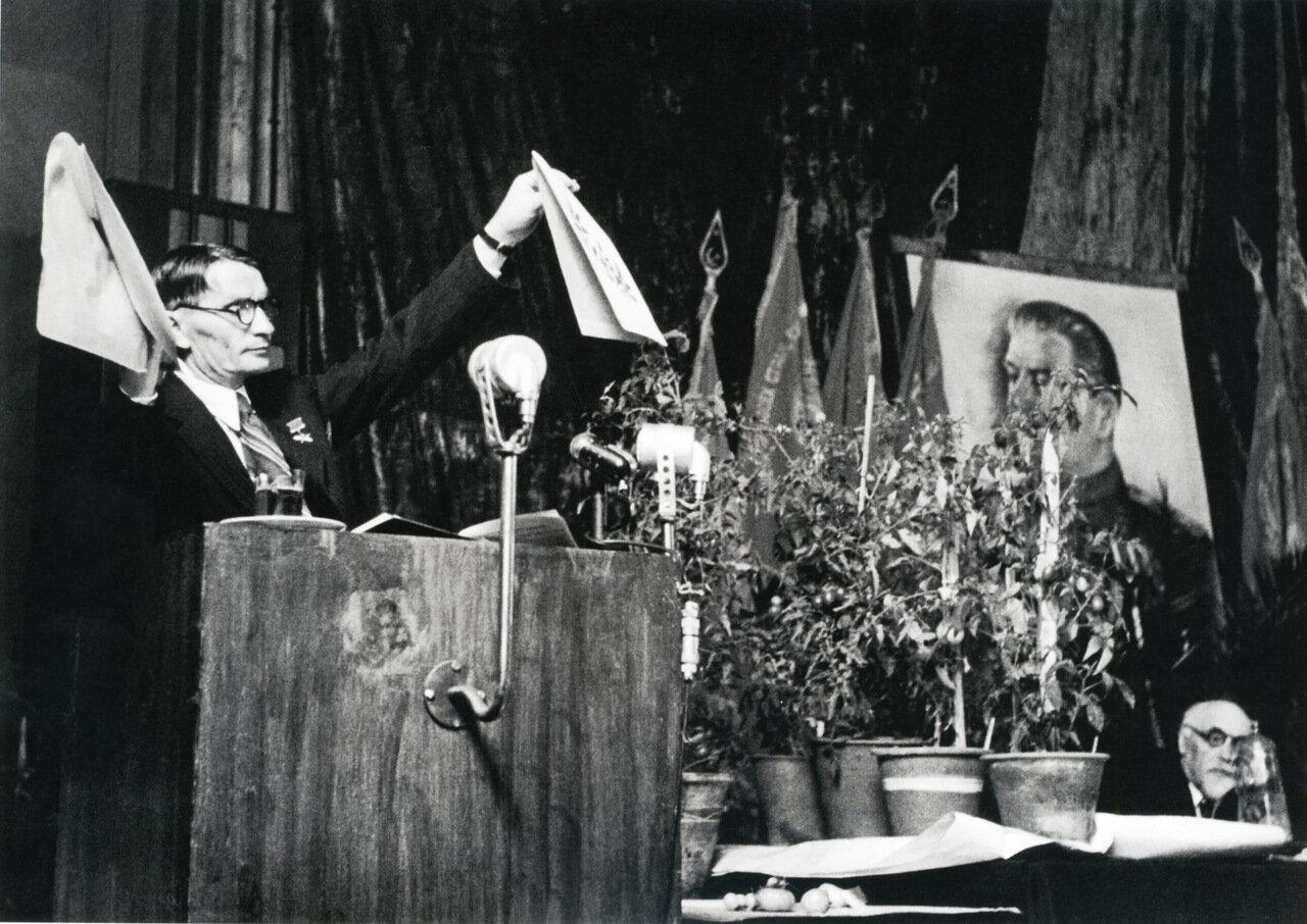 1948. Выступление академика Тимофея Лысенко на сессии ВАСХНИЛ. Москва