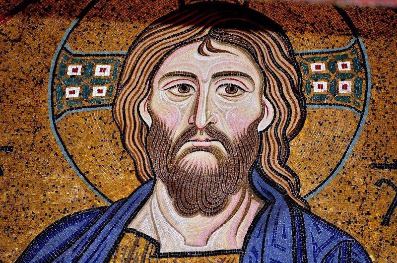 Христос Пантократор. Мозаика XII века в Палатинской капелле в Палермо. Фрагмент.