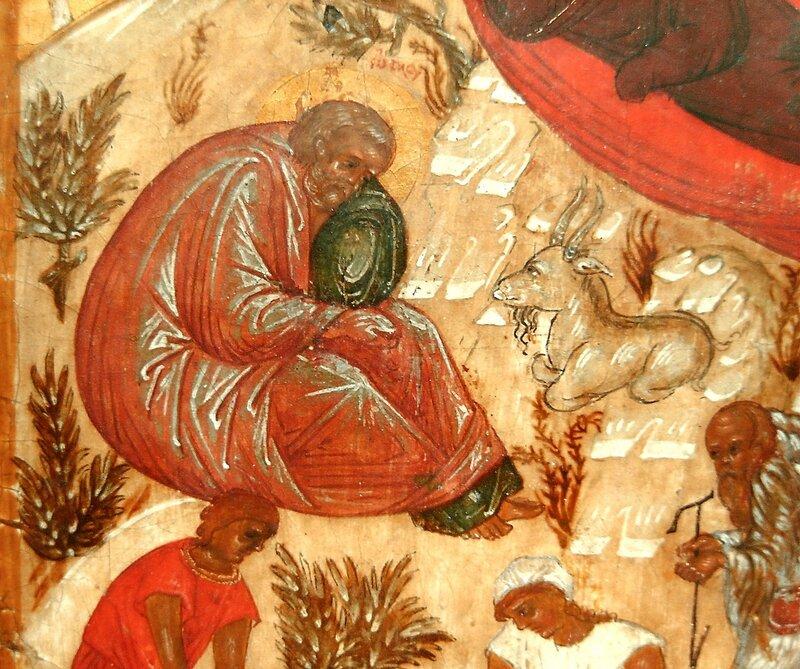 Рождество Христово. Икона. Новгород, XVI век. Фрагмент. Святой Праведный Иосиф Обручник.