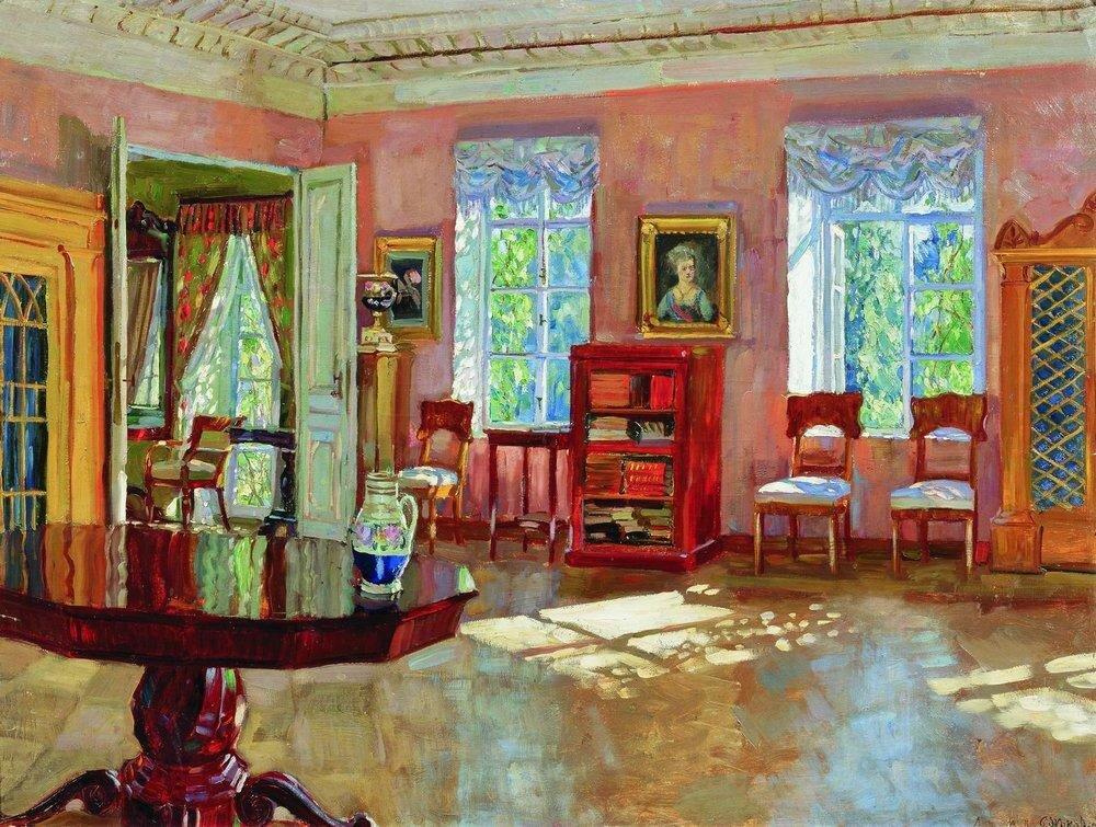 Интерьер библиотеки помещичьего дома. 1910-е.jpg