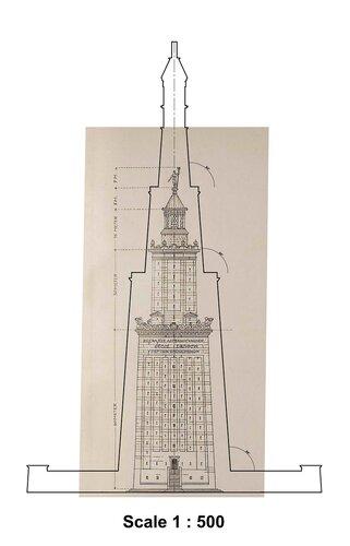 Фаросский маяк, чертеж фасада