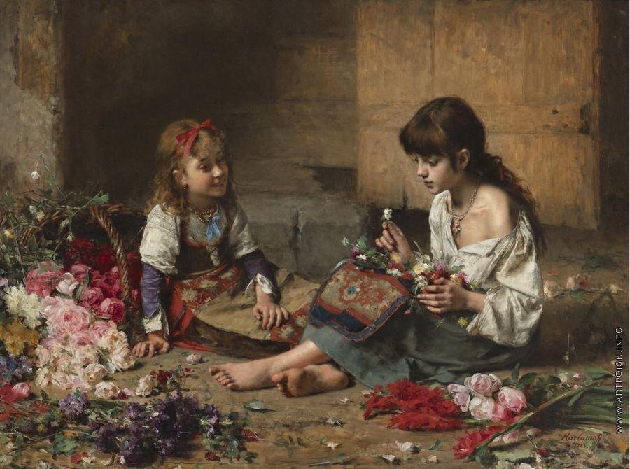 Юные цветочницы. 1885.jpg