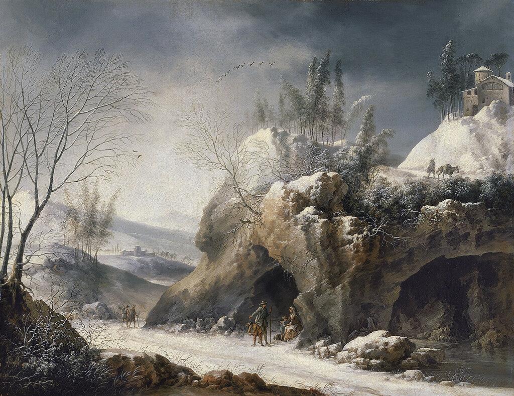 Foschi, Francesco - Зимний пейзаж с крестьянской семьёй, 1750-80, 48 cm x 62 cm, Холст, масло.jpg