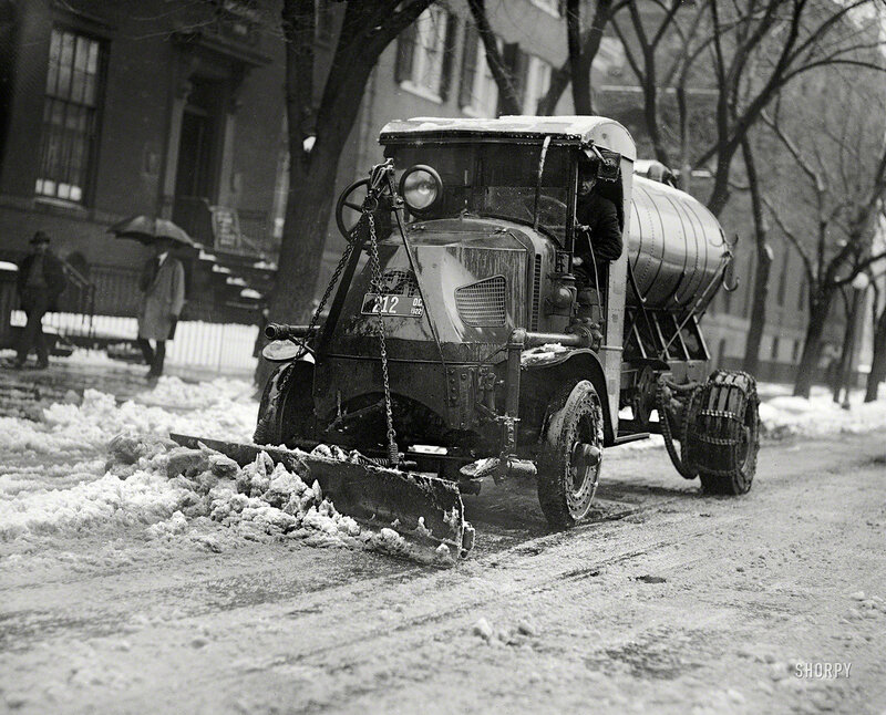Washington, D.C., 1922. Tank truck with plow clearing snow