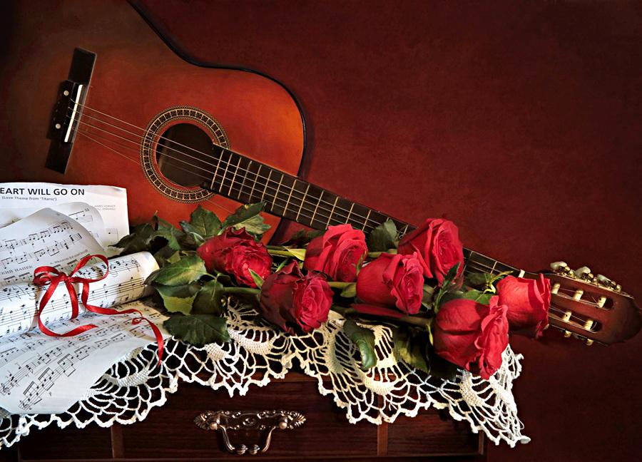 Открытки с цветами и гитарой, надписью про братву