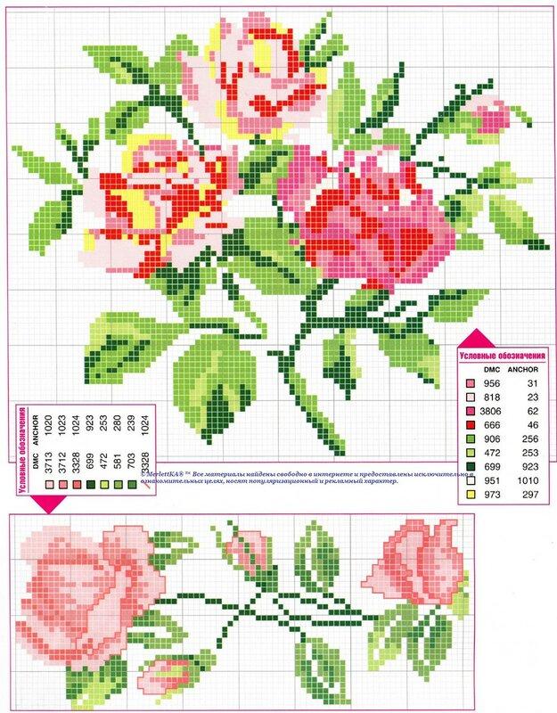 Вышивка крестом цветочные композиции схема