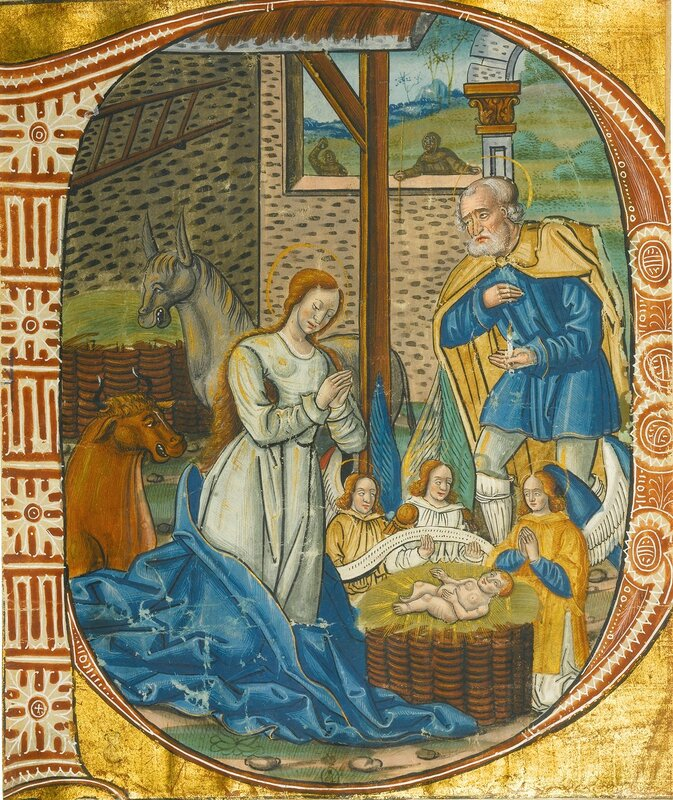 INITIAL FROM ILLUMINATED MANUSCRIPT (FRANCE AND ITALY, EARLY SIXTEENTH CENTURY)