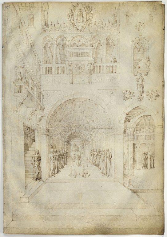 La Mort de la Vierge dans une riche architecture de palais vйnitien