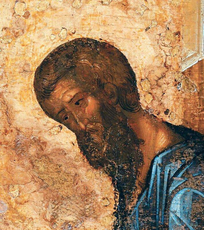 Святой Апостол и Евангелист Матфей. Фрагмент Царских врат из Троице-Сергиевой Лавры. 1425 - 1427 годы.
