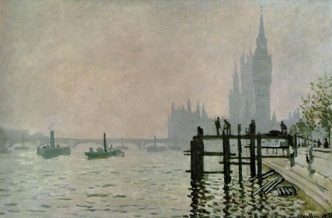 Клод Моне, Темза у Вестминстера (Вестминстерский мост). 1871, холст, масло, 47x73