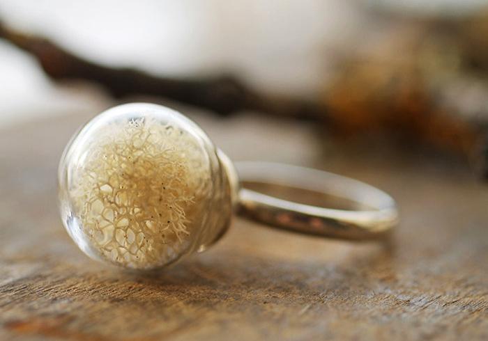 кольца со стеклянными шариками