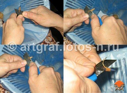 Ручная заточка карандаша канцелярским ножом