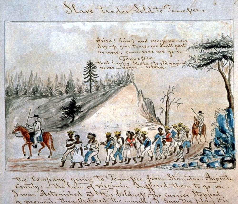 Работорговля внутри США: Перемещение колонны рабов в окрестностях Стонтона, штат Вирджиния (1853 год)